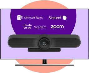 Logitech MeetUp Bring Your Own Meeting + 55 inch 4K display vast aan de wand