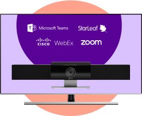 Poly Studio USB Bring Your Own Meeting + 49 inch 4K display vast aan de wand