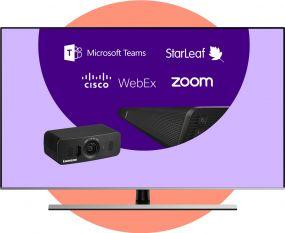 Lumens VC-B10U HD USB Bring Your Own Meeting + 49 inch 4K display vast aan de wand
